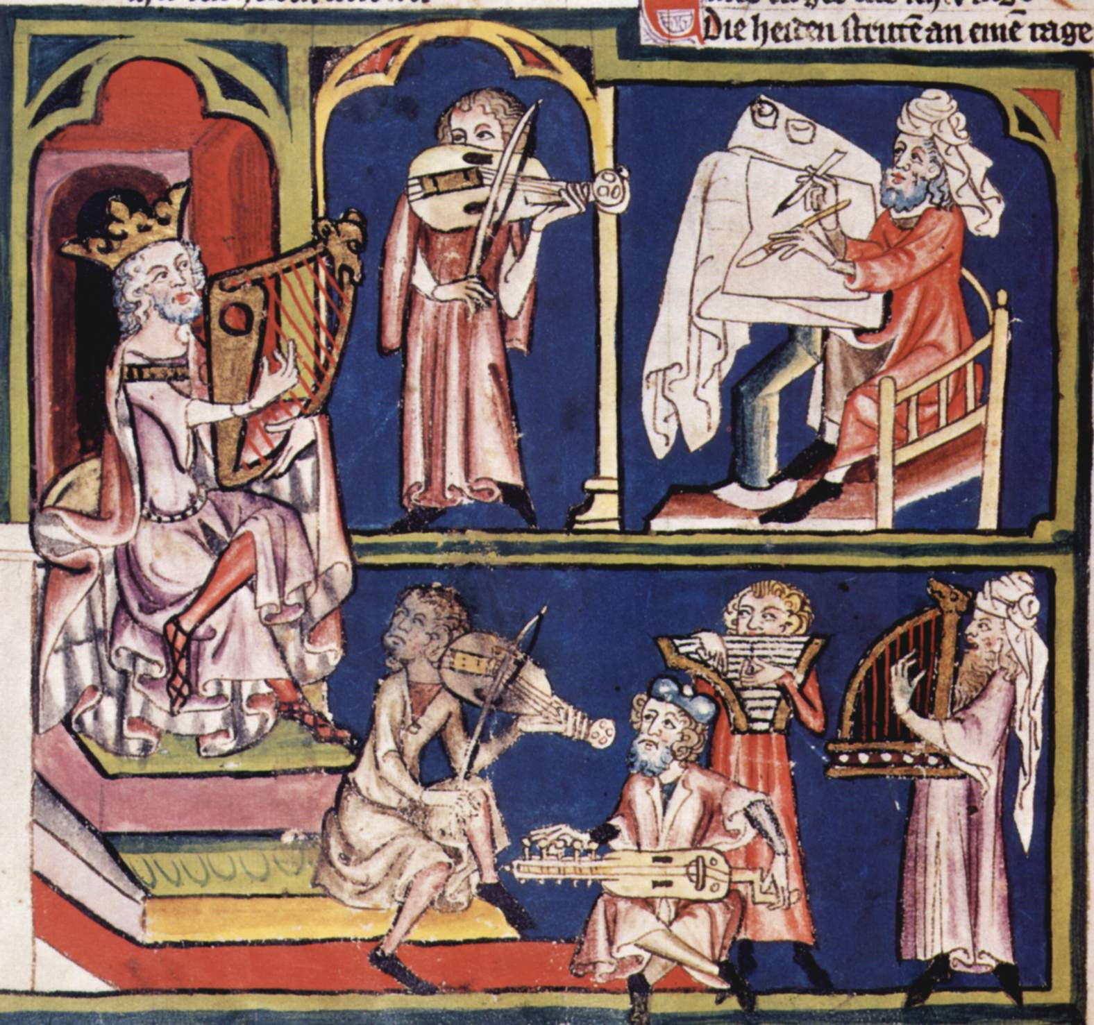 From the ''Weltchronik'': King David with scribe and musicians (illumination from a manuscript in the [[Zentralbibliothek Zürich