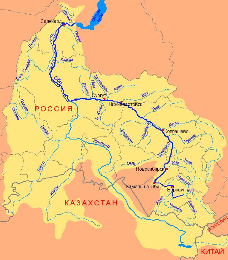 Yenisei River Map Найдовші рі�...