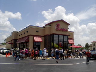 A picture of the Port Charlotte, Florida Chick-Fil-A restaurant on August 01, 2012 (Chick-Fil-A appreciation day)
