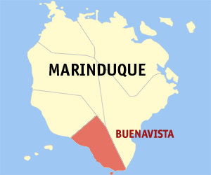 Map of Marinduque showing the location of Buenavista