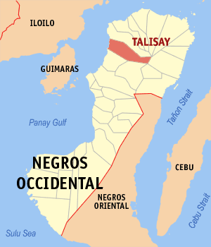Map of Negros Occidental showing the location of Talisay City