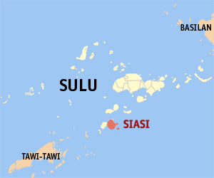 Map of Sulu showing the location of Siasi