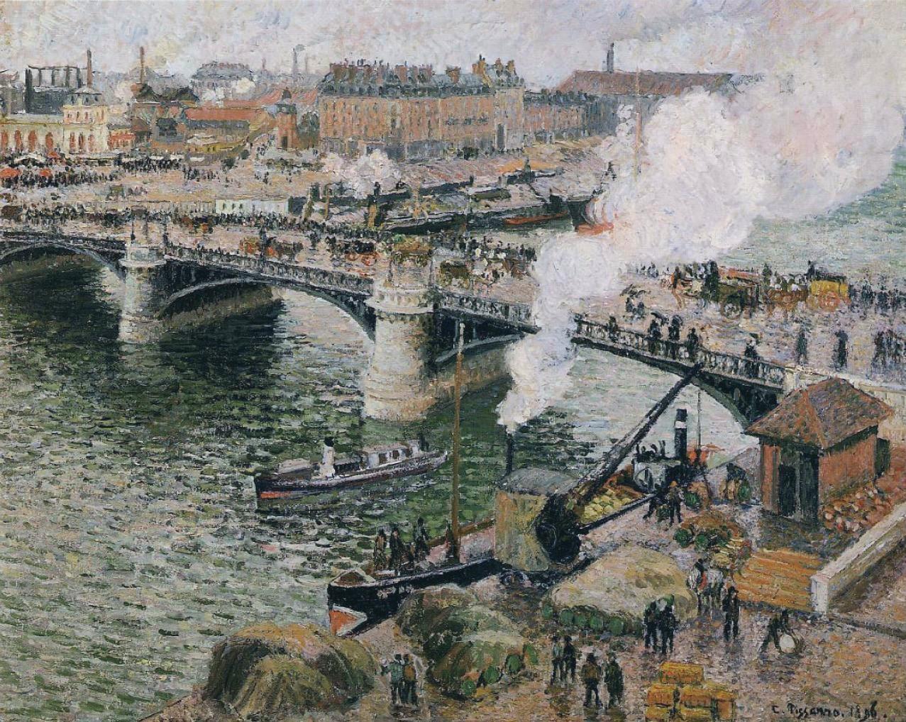 File:Pissarro - Pont Boieldieu in Rouen, Rainy Weather.jpg