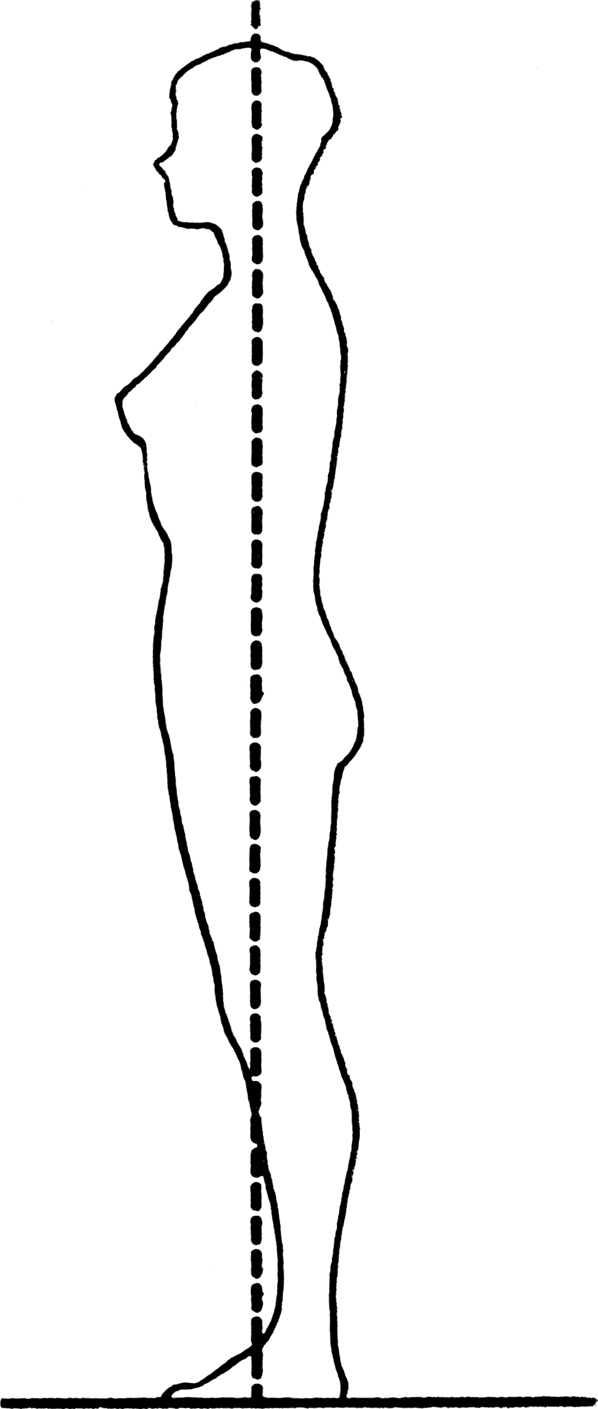 Drawing showing proper posture while standing.