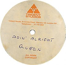 CD from Trident Studios labeled with the band Queen and a song title Doin' Alright
