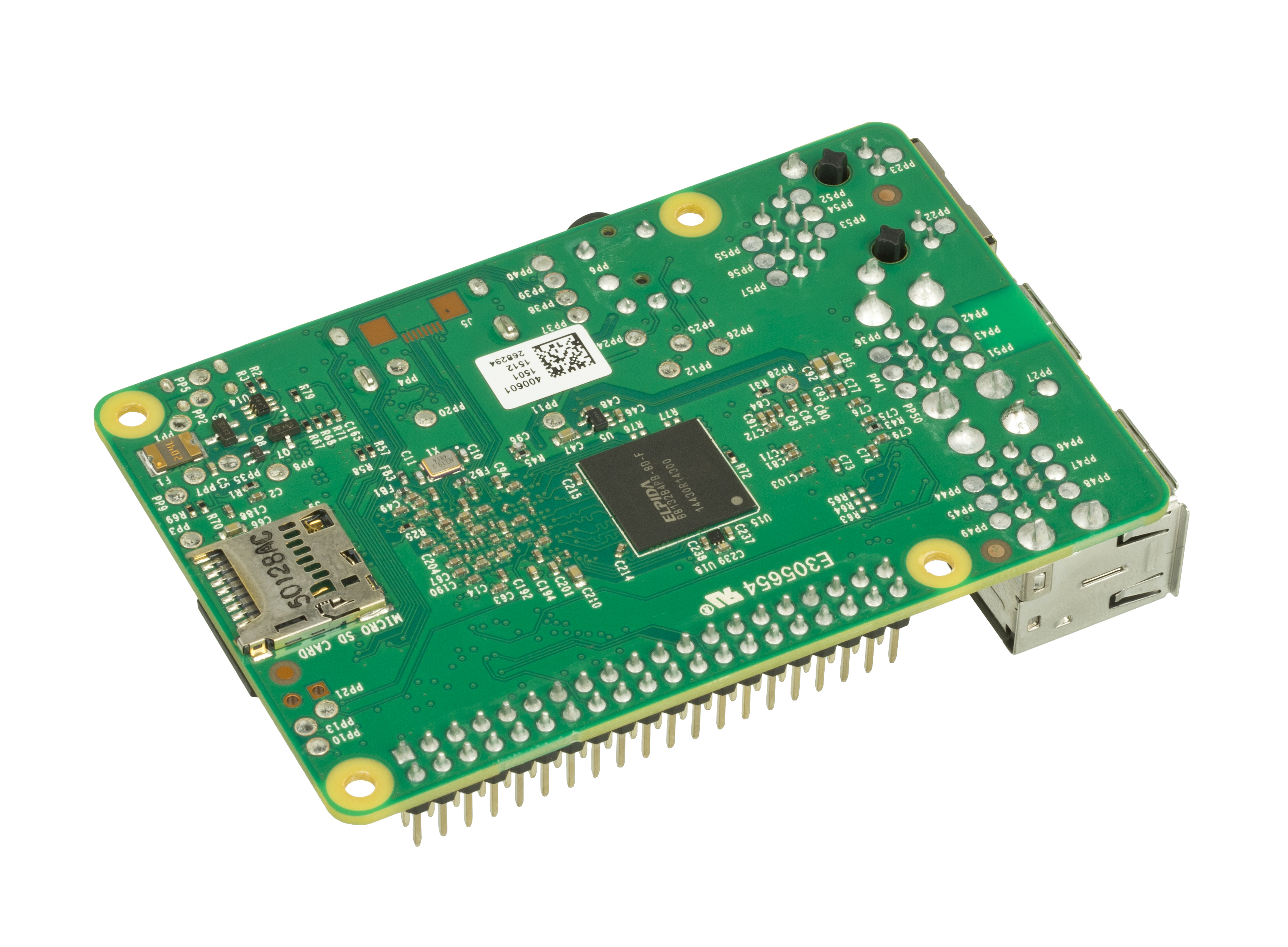 jpg The bottom of a Raspberry Pi 2 (model B), showing a Micro-SD expansion slot. The Raspberry Pi 2 is an inexpensive ($35) and self-contained micro-computer