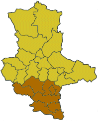 Map of Saxony-Anhalt highlighting the former Regierungsbezirk of Halle
