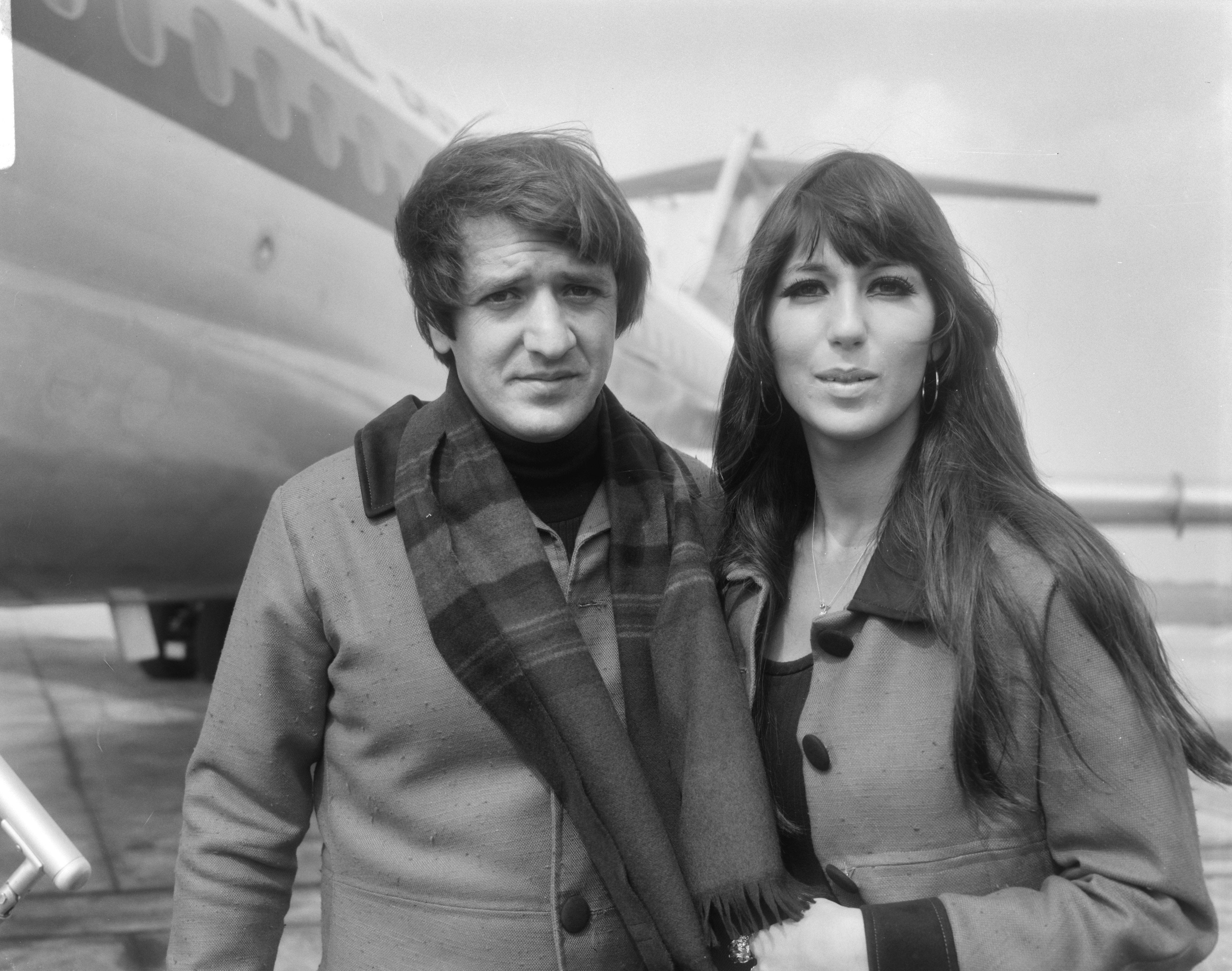 Sonny & Cher in Amsterdam Airport Schiphol, 1966