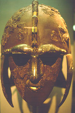A ceremonial helmet from Sutton Hoo recovered ...