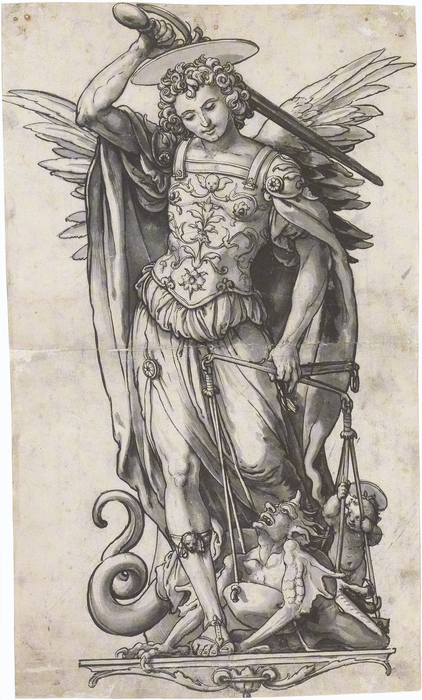 File:The Archangel Michael Weighing Souls, by Hans Holbein the Younger ...