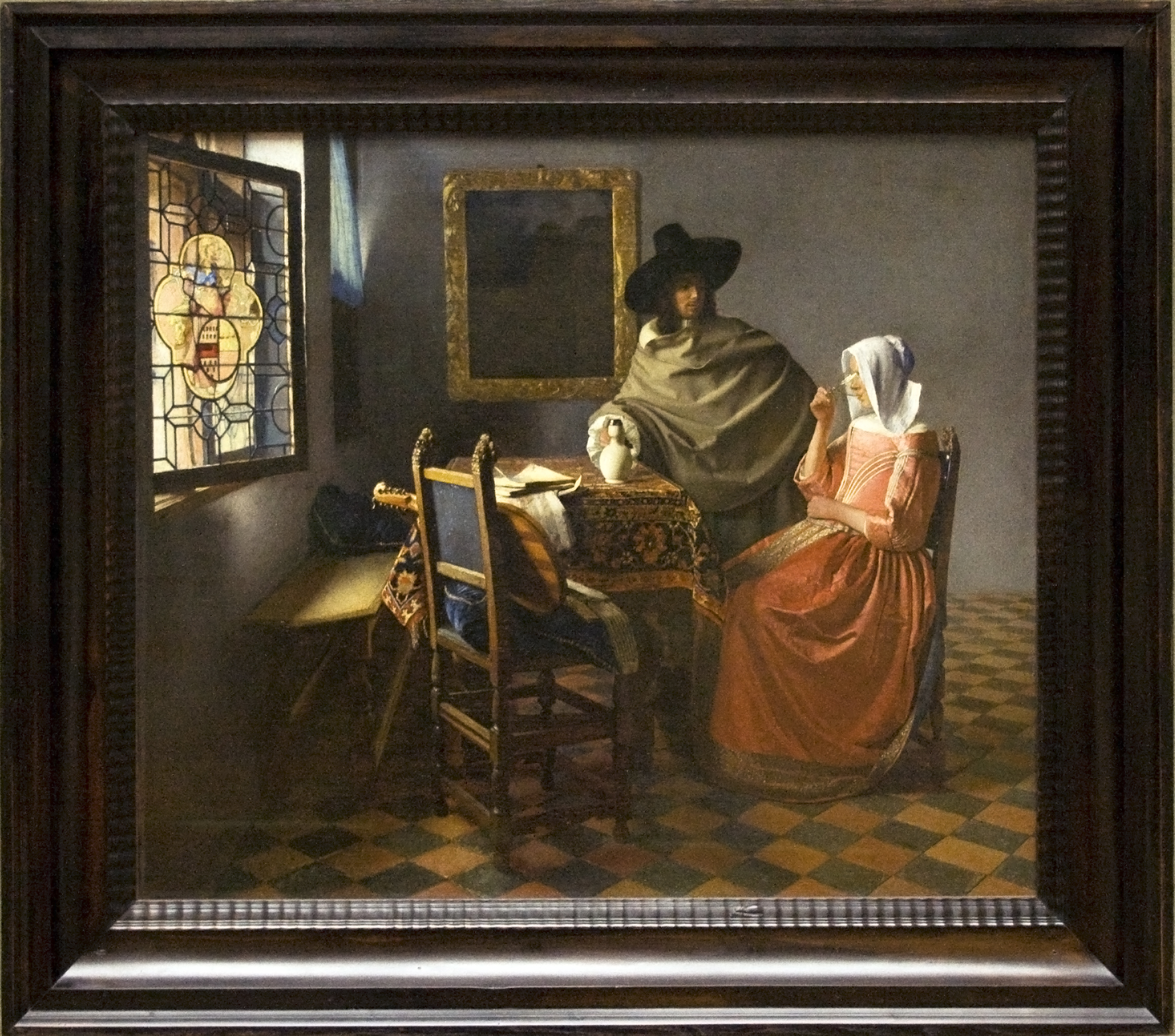 filethe wine glass painting by vermeer with framejpg