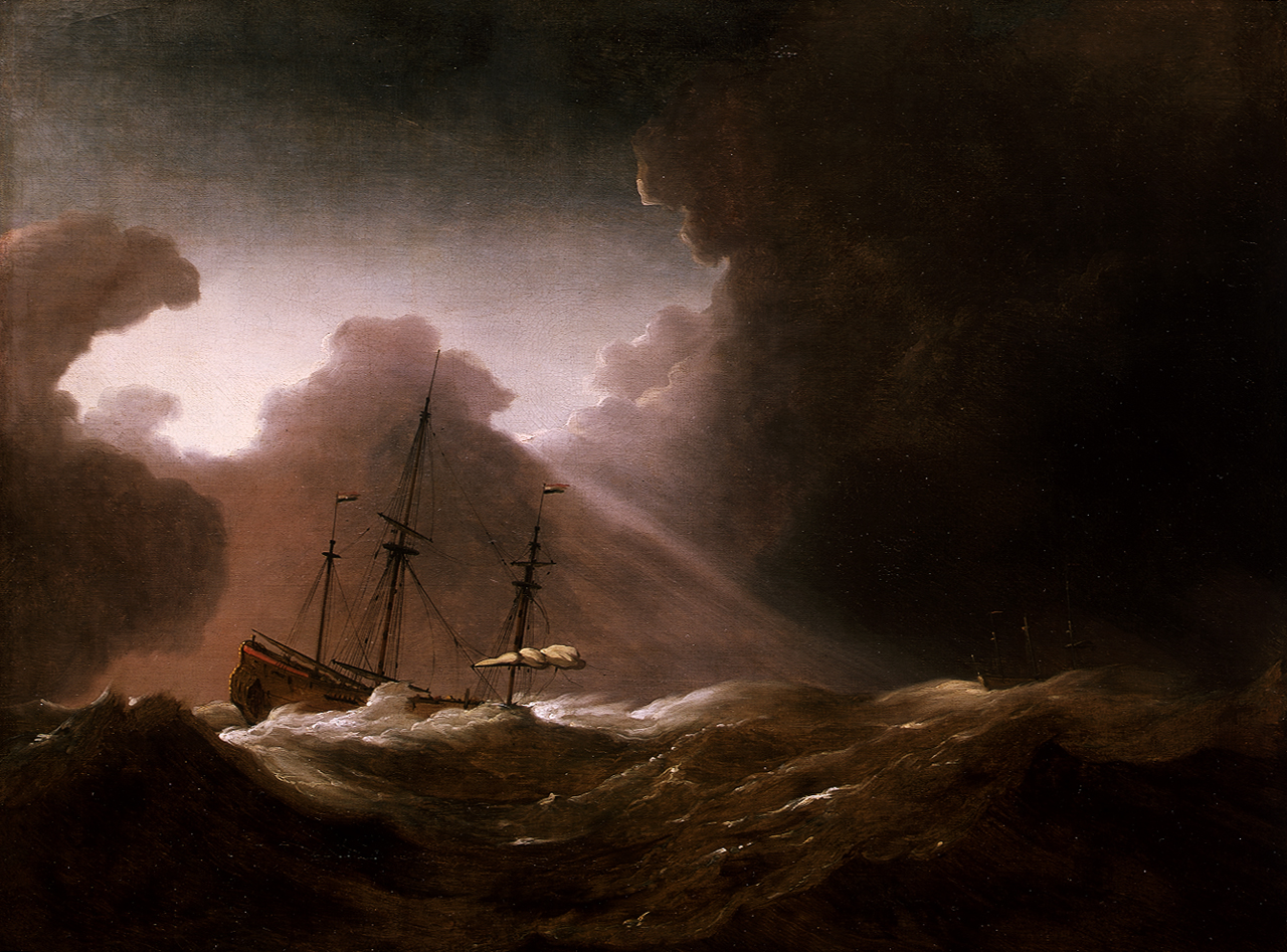Old Sailing Ship In Storm Ship Painting Storm