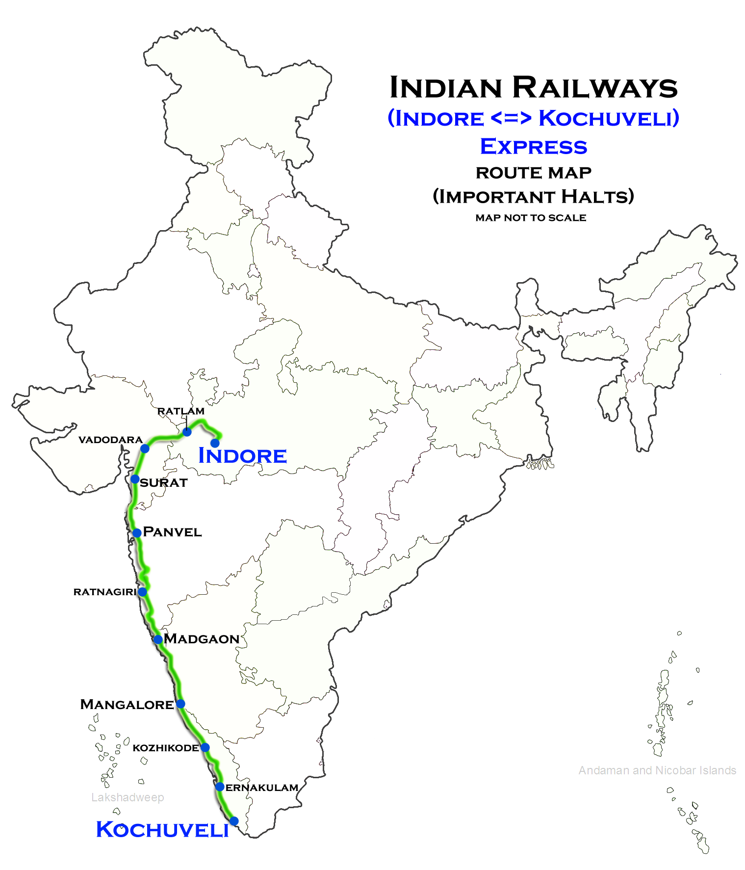 Kochuveli - Indore Weekly Express - Wikipedia on indian railway food, indian railways logo, indian railway network, indian railway enquiry, auto train route map, indian rail route, us train routes map, indian railway fare table, indian railway ticket availability, pakistan railway track map, indian railways seat availability, transcontinental railroad route map, indian railway schedule, european train route map, indian railway reservation, india railway map, indian railway timetable, indian railway stations, mt. shasta route map, ferdinand magellan's route map,