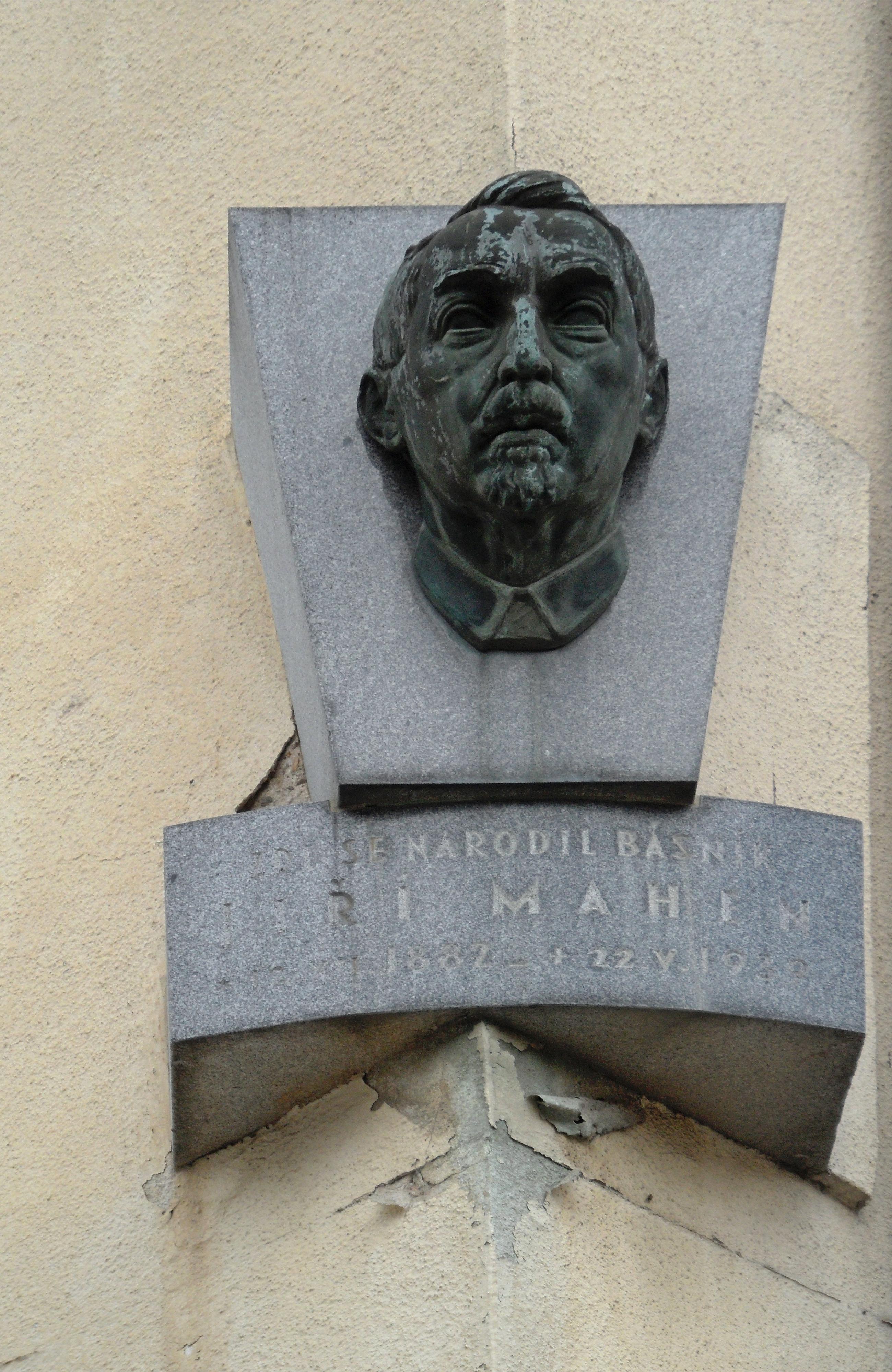 Memorial plaque of Jiří Mahen in Čáslav, his birthplace