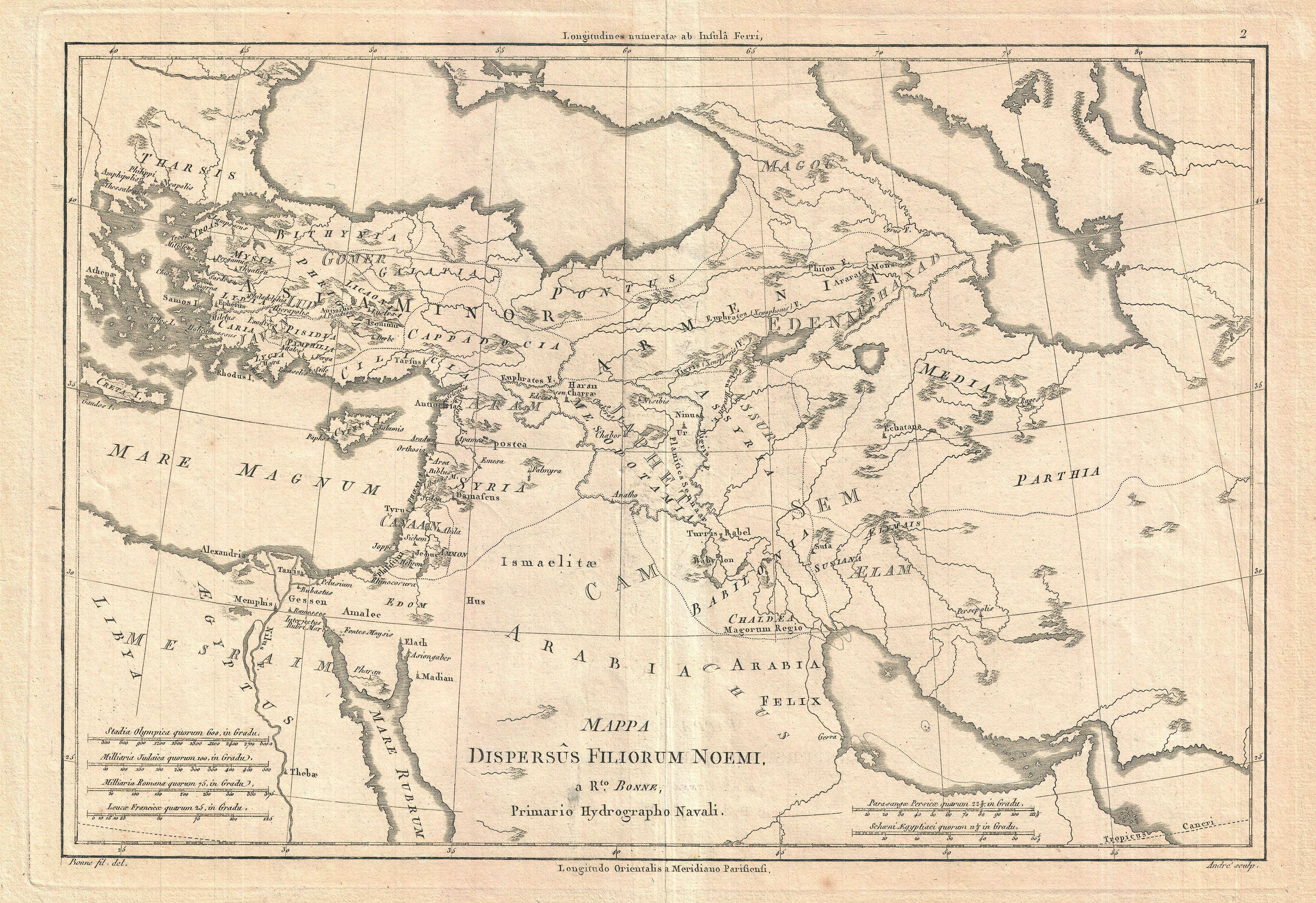 File:1787 Bonne Map of the Dispersal of the Sons of Noah ... on map of dumah, map of magog, map of shinar, map of togarmah, map of hebrews, map of ishmaelites, map of cush, map of michmash, map of kingdom of kush, map of moreh, map of ham, map of aroer, map of japheth, map of aram, map of shem, map of nahor,