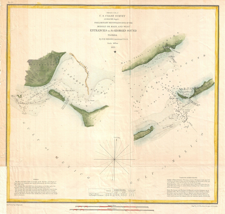 Florida Coastline Map.File 1853 U S Coast Survey Chart Or Map Of St Georges Sound