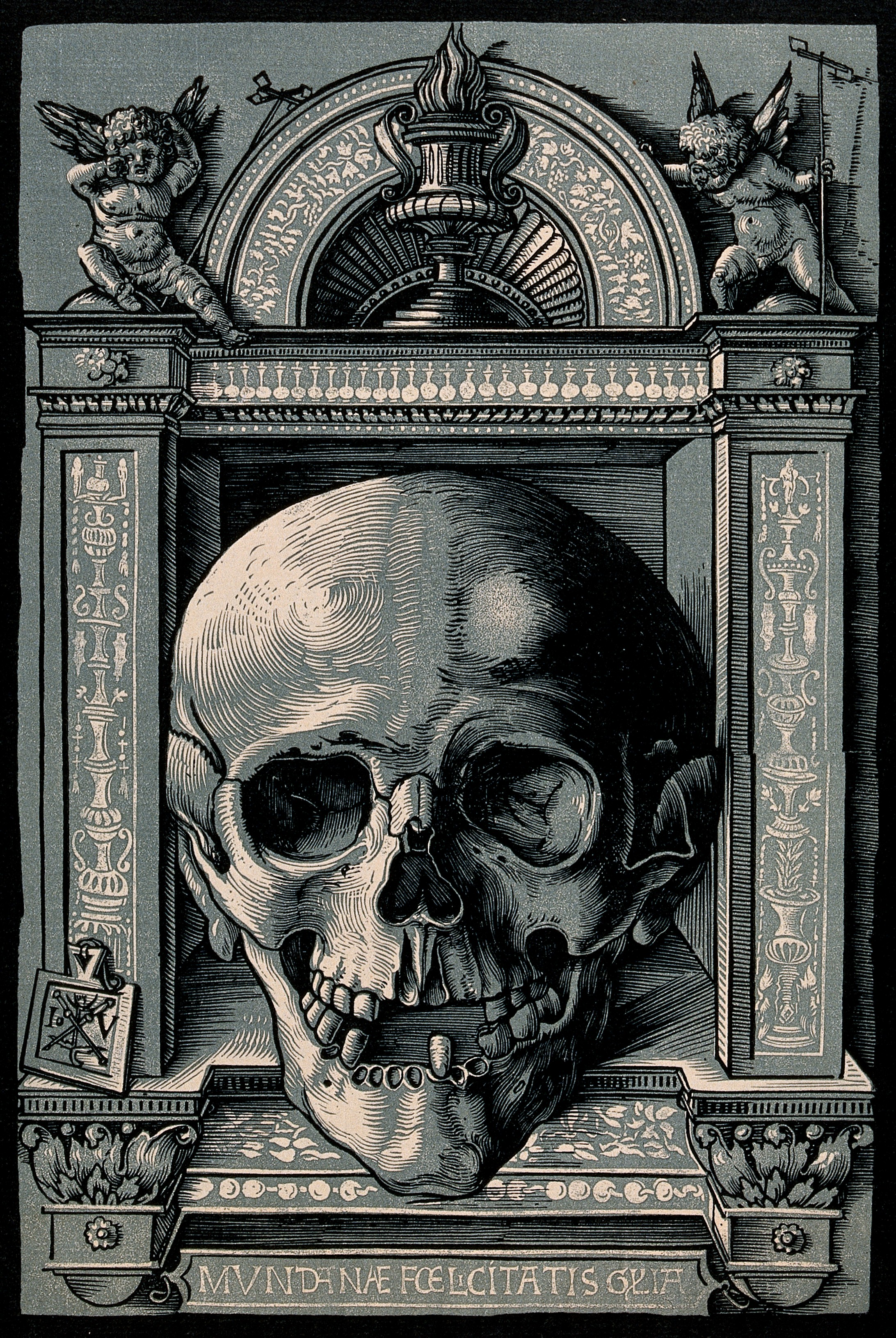 File:A skull with an ornamental frame. Collotype after Hans Wecht ...