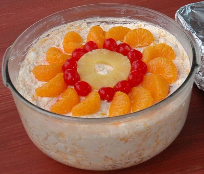 A photo of an Ambrosia salad, cropped from the...