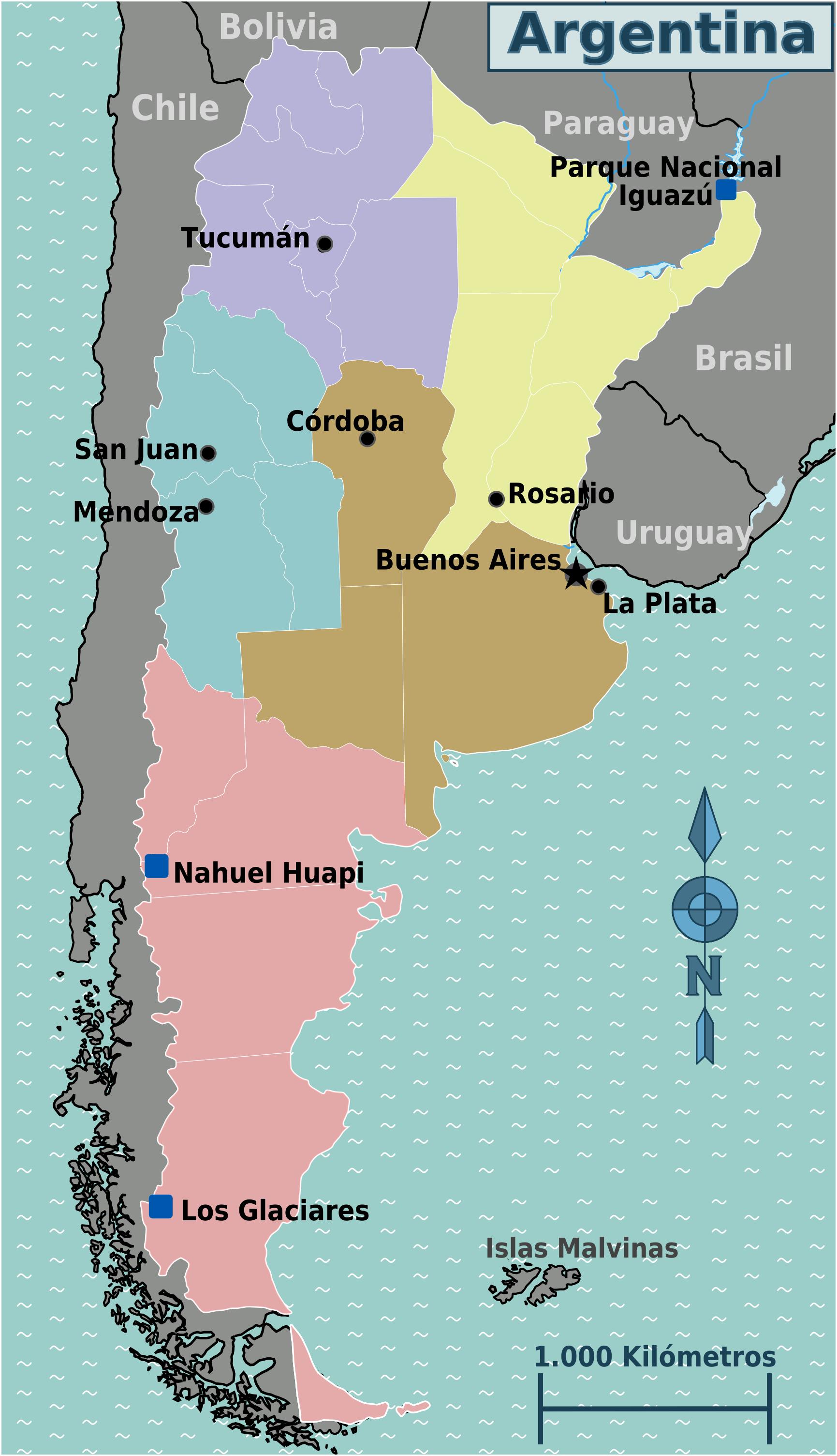 Argentina Map Regions - Argentina map rivers