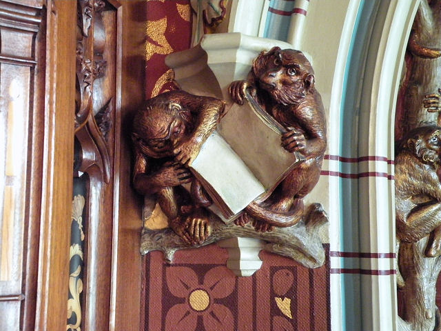 Carved monkeys in Library, Cardiff Castle - geograph.org.uk - 1376875