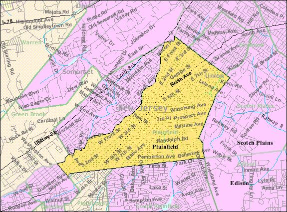 Census Bureau map of Plainfield, New Jersey