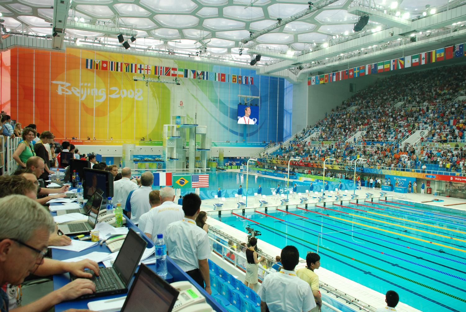 Amazing pictures of beijing 39 s olympic cube turned indoor water park menaverohblog for Beijing swimming pool olympics
