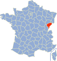 Situation du Doubs en France.