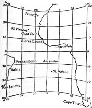 EB1911 - Map Projections- Fig. 14.—Part of the Atlantic Ocean on a Meridian Central Projection.jpg