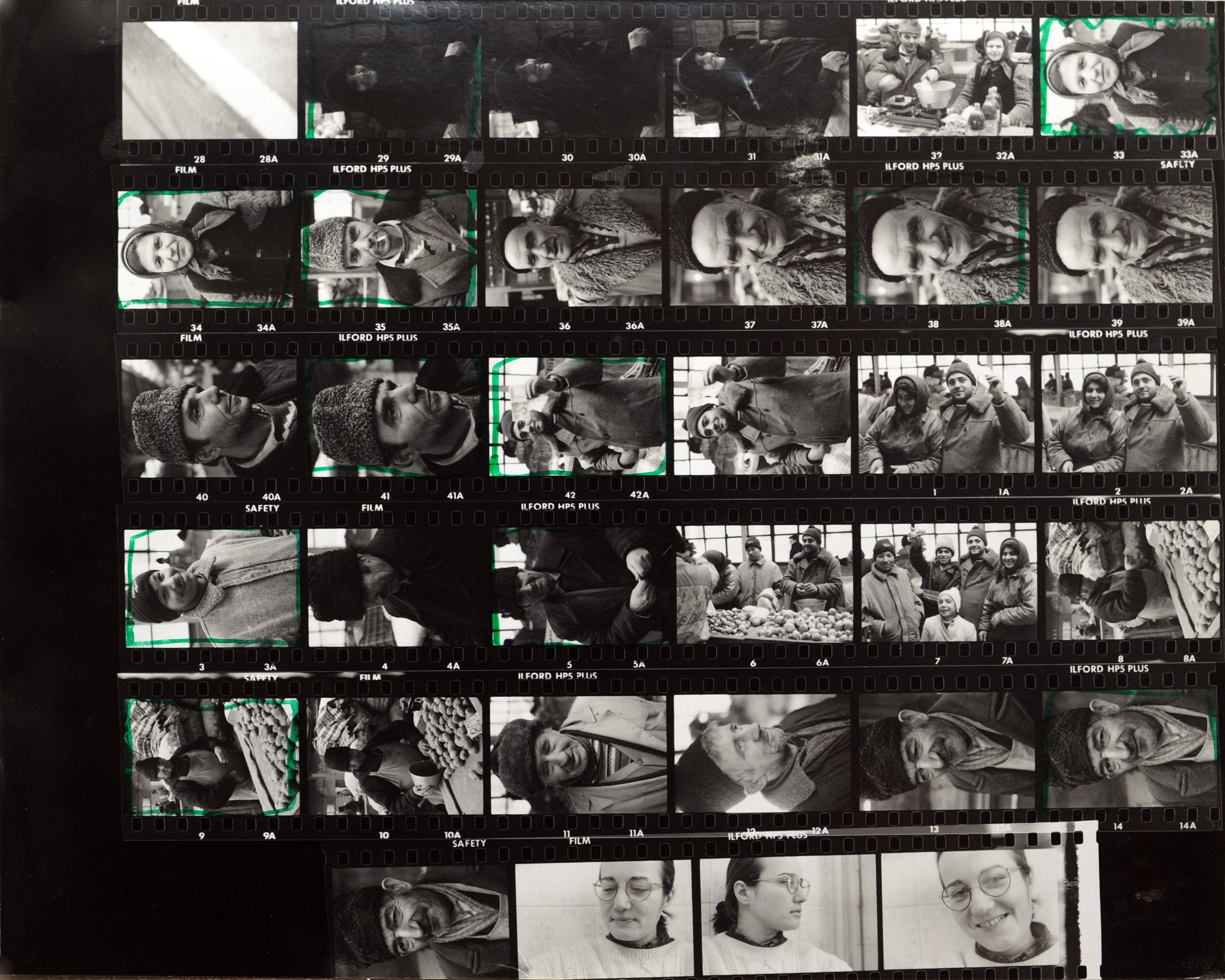 Contact sheet showing a group of photograps.
