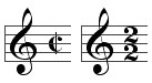 <i>Alla breve</i> time signature in Western music notation