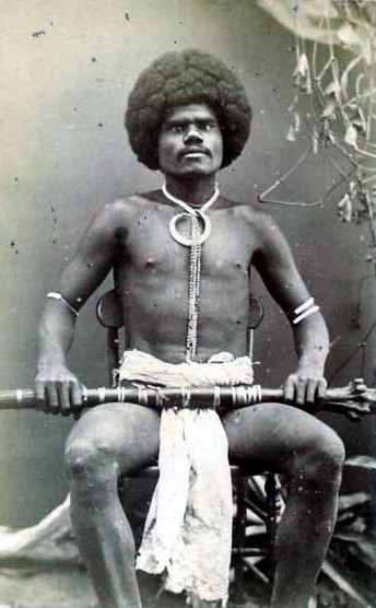 A Fijian mountain warrior, photograph by Francis Herbert Dufty, 1870s. Fijian mountain warrior, Kai Colo.jpg
