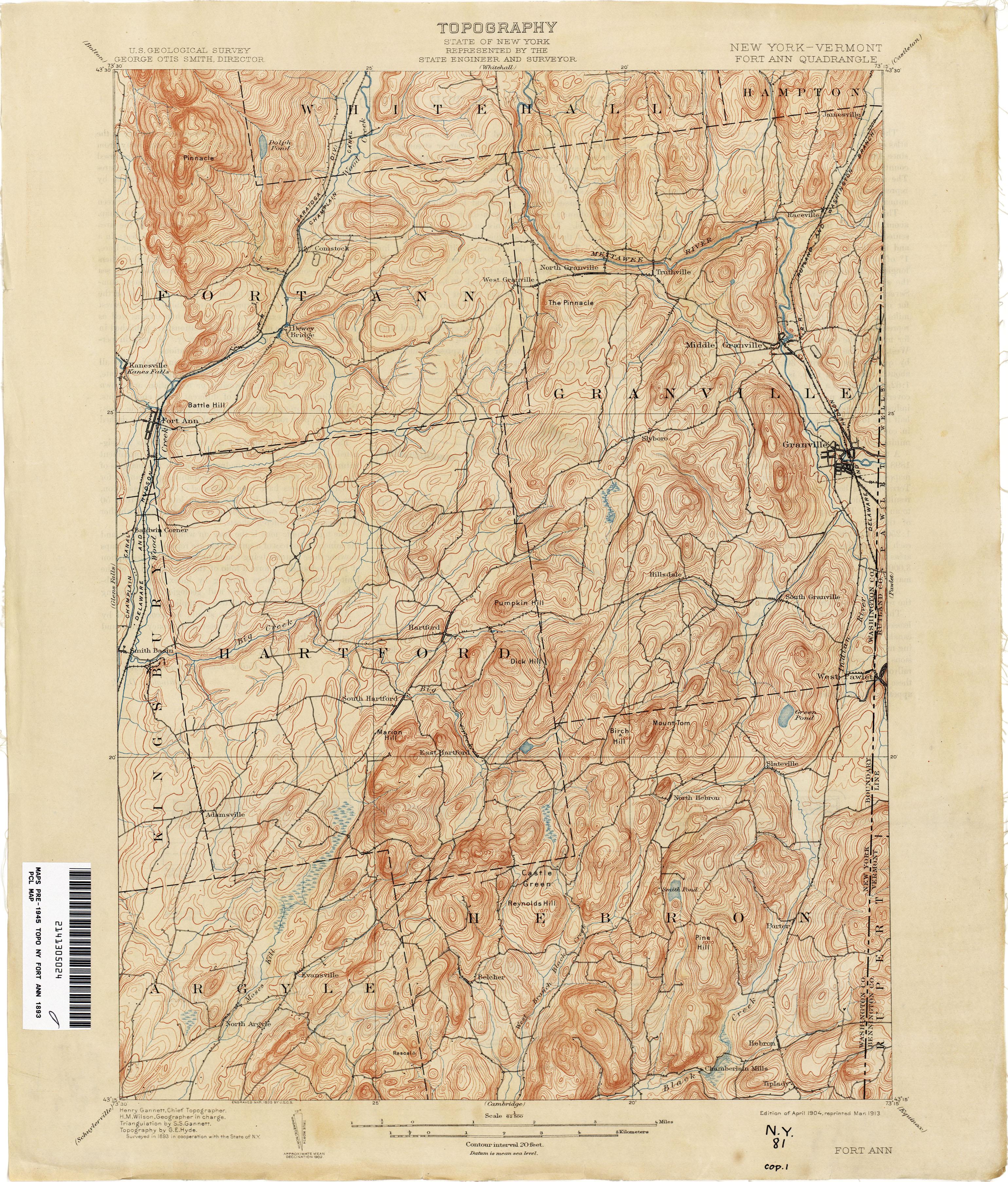 File Fort Ann New York Usgs Topo Map 1893 Jpg Wikimedia Commons