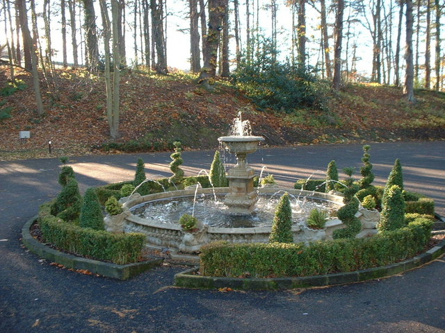 Fountain at Langley Castle - geograph.org.uk - 1418033