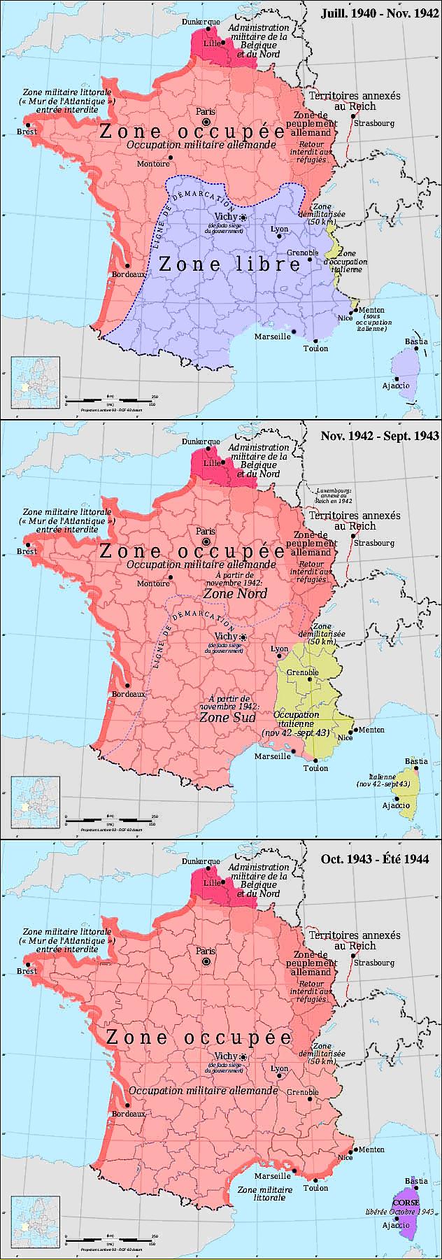 German & Italian occupation zones of France (1940–1944)