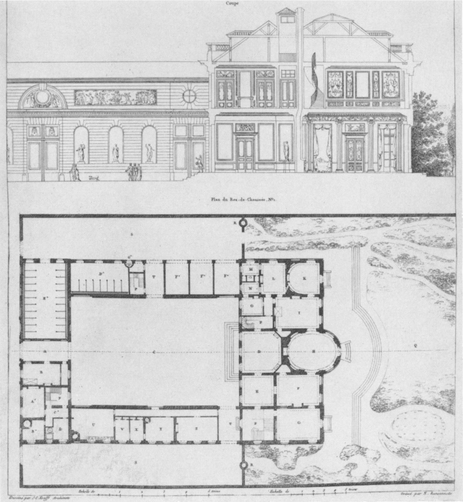 File H  tel de Bourbon Cond     floor plan and elevation