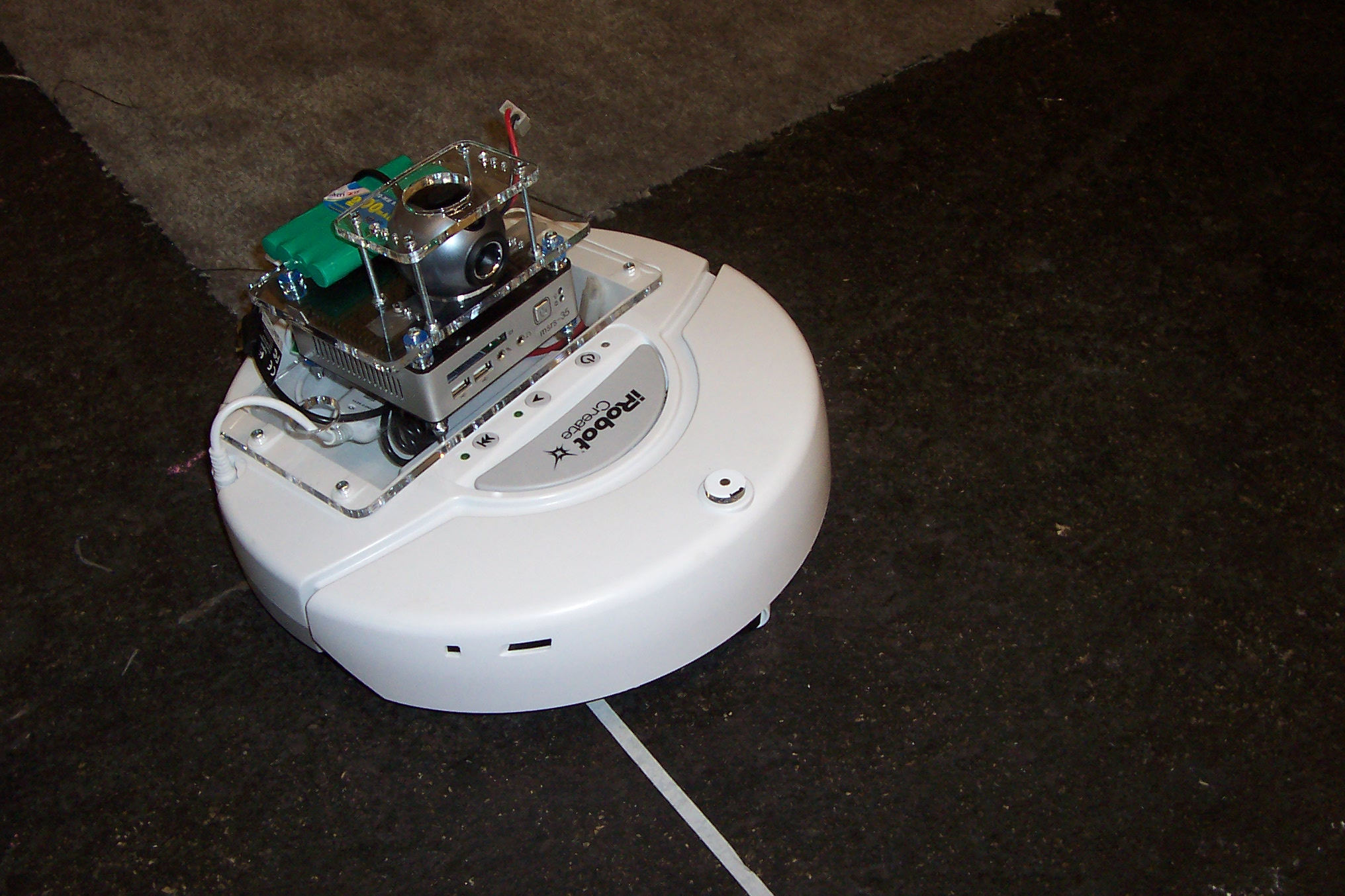 iRobot with mounted camera and minicomputer