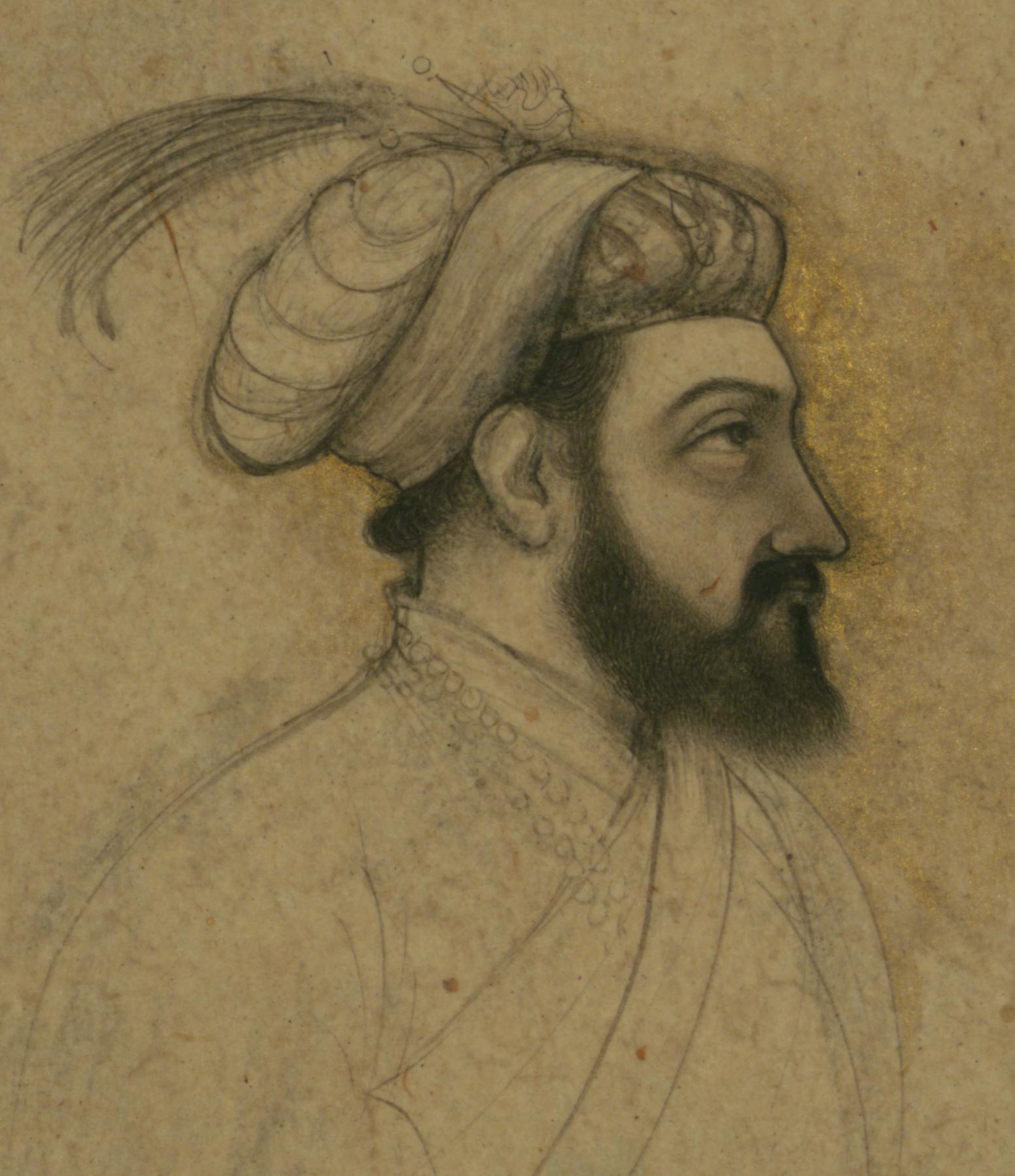 indian - single leaf of a portrait of shah jahan - walters w700 - detail.jpg