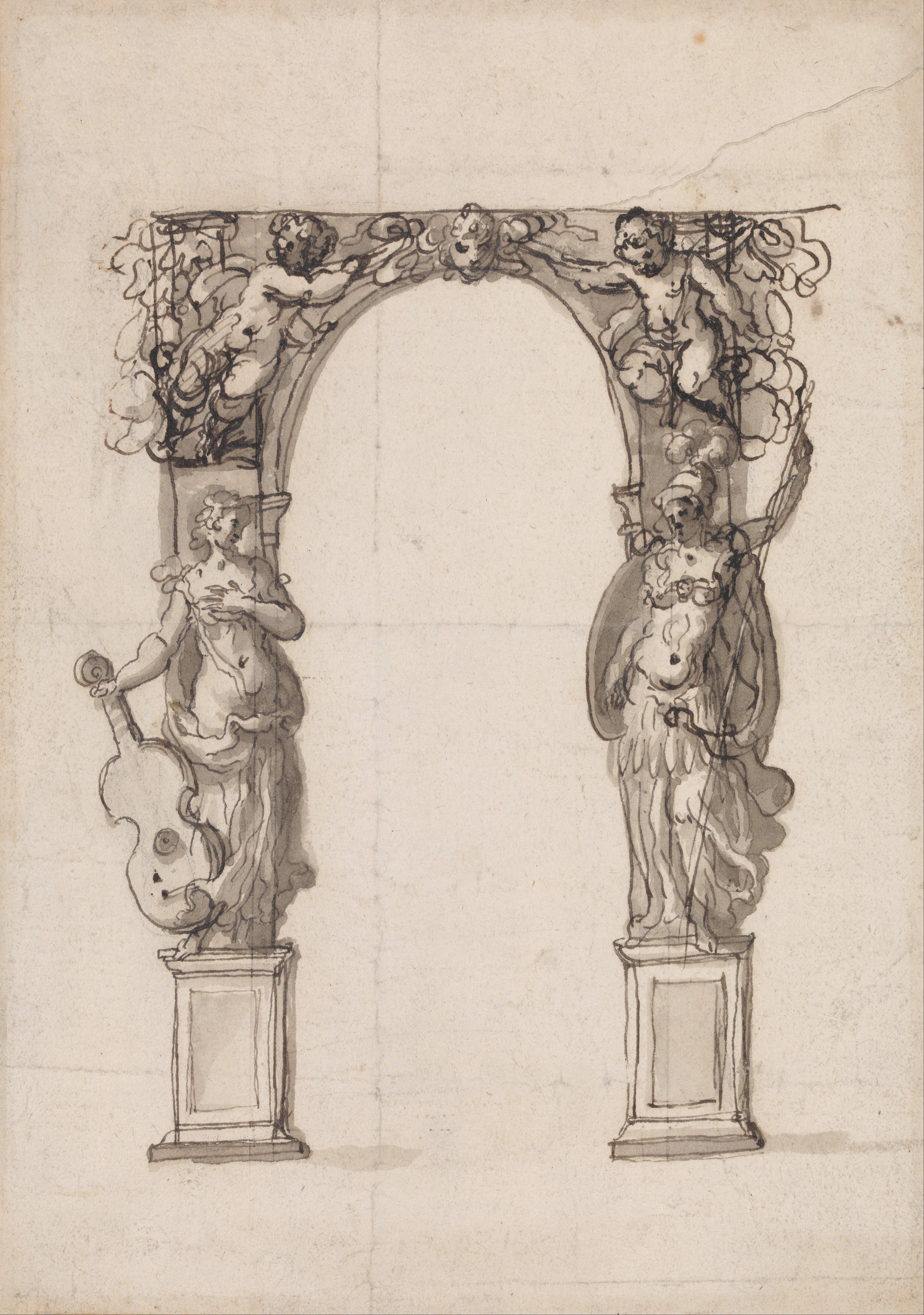 File Inigo Jones Design For A Temporary Arch Ornamented
