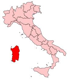 Sardiniens placering i Italien