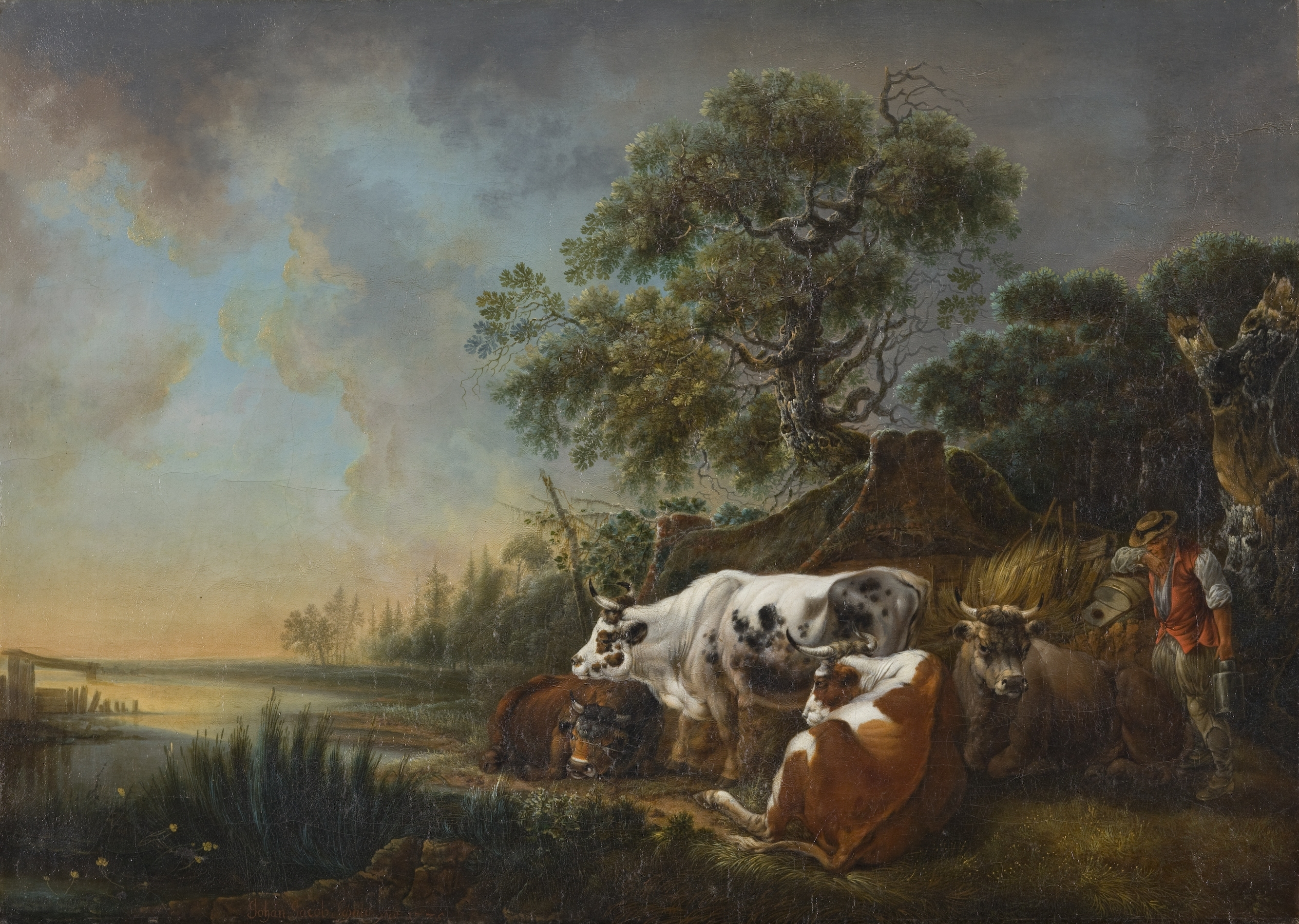 Farmer with cows at a river bank (1775)