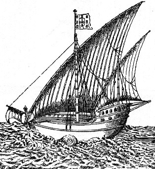 Early 16th century European caravel Karavelle.png
