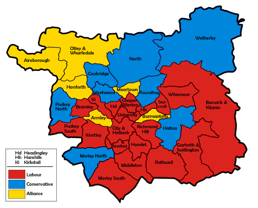 Map of the results for the 1987 Leeds council election.