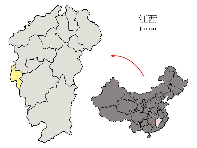 Pingxiang China  City pictures : Location of Pingxiang Prefecture within Jiangxi China ...
