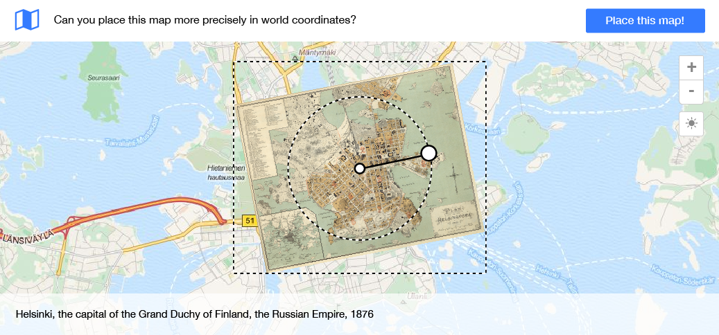 The user can scale and rotate the historical map
