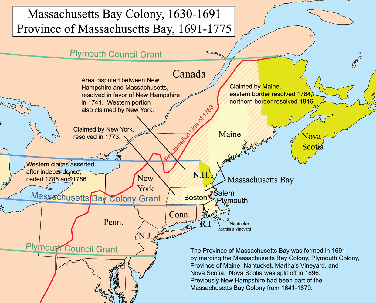 Map of Massachusetts Bay Colony