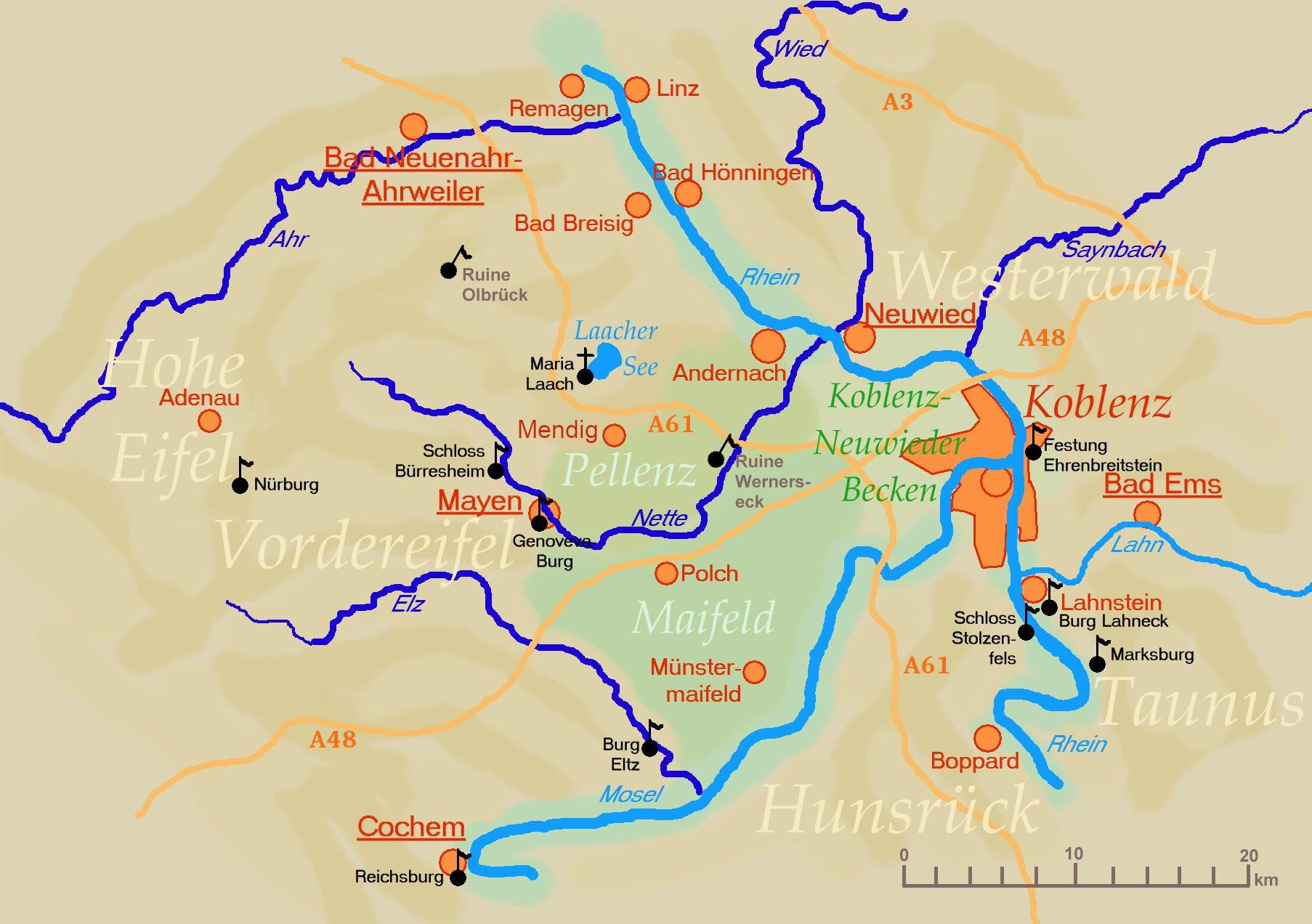 eifel karte mit sehenswürdigkeiten Die Region Osteifel   der Mayengau
