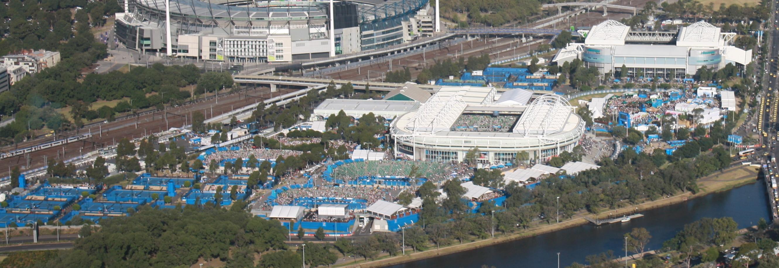 Vue aérienne du complexe de Melbourne Park