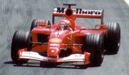 Michael Schumacher in de Ferrari F2001. In 2002 werd het chassis hergebruikt voor de eerste races.