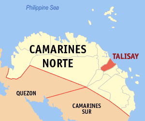 Map of Camarines Norte showing the location of Talisay