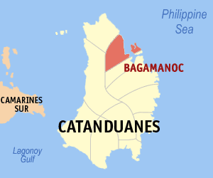 Map of Catanduanes showing the location of Bagamanoc